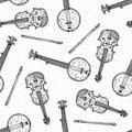 Seamless Pattern with Wooden Fiddle and Banjo