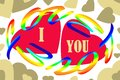 Seamless pattern of the words `I love you` and hearts of different sizes and colors.