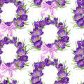 Seamless pattern from wreath of purple crocus spring with pink ribbon bow Royalty Free Stock Photos
