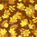 Seamless pattern with yellow autumn leaves. Vector Stock Photos