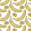 Seamless pattern with yellow bananas drawn by hand with colored pencil