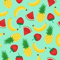 Seamless pattern with yellow bananas, pineapples, watermelon and strawberries on mint green background. Summer fruit mix