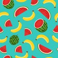 Seamless pattern with yellow bananas, watermelon on blue background. Summer fruit illustration. Colorful cute tropical