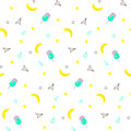 Seamless pattern with yellow bananas and watermelon, ice cream on white background. Memphis vector background. Bright