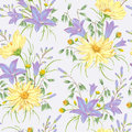 Seamless pattern with yellow chamomile flowers, blue bluebells flowers and oat. Rustic floral background.