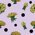 Vector hand-drawn flower seamless pattern with dandelion and points