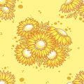 Seamless pattern yellow flowers bouquet. Royalty Free Stock Images