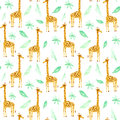 Seamless pattern with yellow giraffe and foliage.