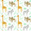 Seamless pattern with yellow giraffe, zebra, elephant and foliage.