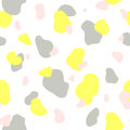 Seamless pattern of yellow, gray and pink spots