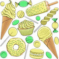Seamless pattern with yellow and green sweets.