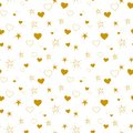 Pattern of golden hearts and stars