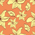 Seamless pattern with yellow lilies on orange background Stock Photo