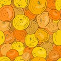 Seamless pattern of yellow and orange citrus fruits