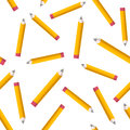 Seamless pattern with yellow pencils on white background. Back to school texture with comic pencils. Vector Illustration. Royalty Free Stock Photo