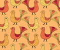Seamless pattern with yellow and red birds Stock Photo