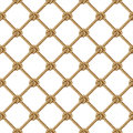 Seamless pattern, yellow rope woven in the form fishing net, isolated on white Royalty Free Stock Photo
