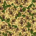 Seamless pattern with yellow roses. Beautiful realistic flowers with leaves. Photorealixtic rose bud, clean vector high detailed Royalty Free Stock Photo