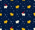 Seamless pattern of yellow and white pigs boars and snowflakes on dark blue background. Royalty Free Stock Photo