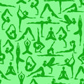 Seamless pattern of yoga poses isolated girls in Royalty Free Stock Image