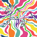 Seamless pattern of zebra running on a colorful skin background Royalty Free Stock Photography