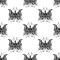 Seamless pattern with zentangle butterflies in black white