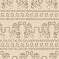 Seamless pattern with Zentangle octopus. Underwater life. A Wallpaper with marine animals.
