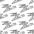 Seamless pattern of a zigzag cartoon boa snake background with diamond in black and white line drawn Stock Images