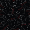 Seamless pattern with zodiac signs on black Royalty Free Stock Photo