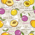 Seamless Patterns with apricot, plum and peach. Royalty Free Stock Photo
