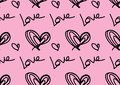 Seamless patterns with black hearts, Love background, heart shape vector, valentines day, texture, cloth, wedding wallpaper, paper