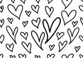 Seamless patterns with black and white hearts, Love background, heart shape vector, valentines day, texture, cloth, wedding, paper