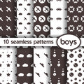 10 seamless patterns for boys Royalty Free Stock Photo