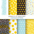 8 Seamless Patterns - Confetti and Polka Dot Royalty Free Stock Photo
