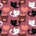 Seamless patterns with cute kittens in love Royalty Free Stock Photography
