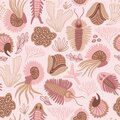 Seamless patterns design for fabric or wrap paper. Chambered Nautilus Nautilus Pompilius and other shells isolated on pink backg Royalty Free Stock Photo
