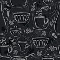 Seamless patterns with different tableware, flower, cup, pan on blackboard. Ideal for printing onto fabric and paper or scrap Royalty Free Stock Photo