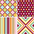 Seamless patterns with fabric texture Stock Images
