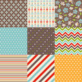 Seamless patterns with fabric texture set Royalty Free Stock Images