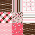 Seamless patterns with fabric texture set Stock Images
