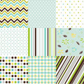 Seamless patterns with fabric texture set Stock Photography