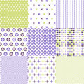 Seamless patterns with fabric texture set Stock Photo