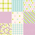 Seamless patterns with fabric texture set Royalty Free Stock Photography