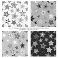Seamless patterns with fantasy stars in monochrome colors