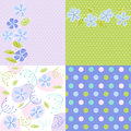 Seamless patterns with floral fabric texture Royalty Free Stock Photo
