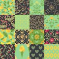 Seamless patterns with floral and food pattern Stock Image