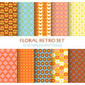 10 Seamless Patterns - Floral Retro Royalty Free Stock Photo