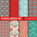 8 Seamless Patterns - Floral Retro Set Royalty Free Stock Photo