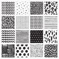 Seamless patterns with hand drawn scribble and spot. Black and white abstract background. Vector texture.