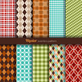 Seamless patterns hipster style set of ten Royalty Free Stock Photo